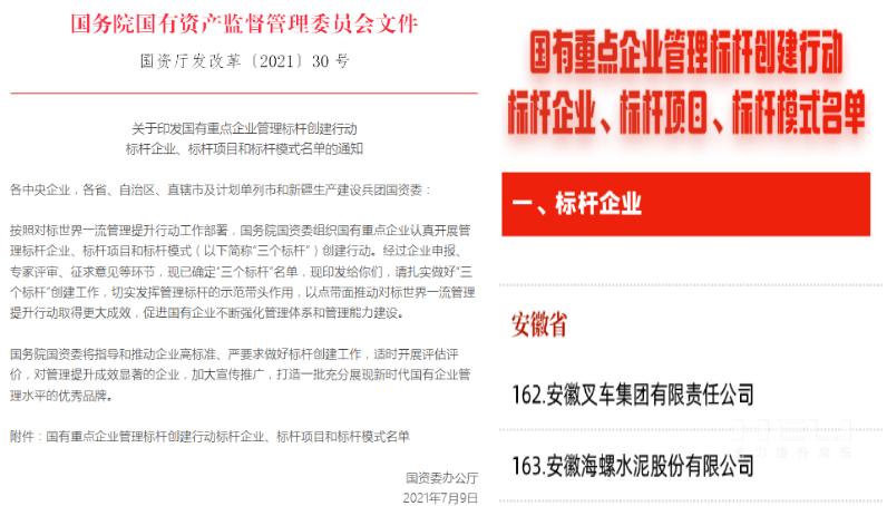 """安徽叉车集团入选""""国有重点企业管理标杆创建行动标杆企业""""名单"""